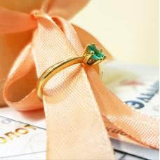 Кольцо из жёлтого золота с изумрудом