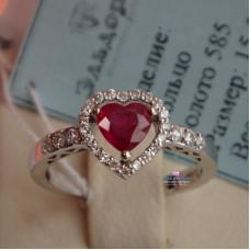 """Кольцо для помолвки """"Рубиновое сердце"""" из белого золота с бриллиантами"""