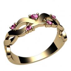 Кольцо из красного золота с рубинами..