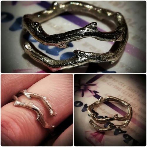 Эксклюзивное кольцо Веточка из жёлтого золота