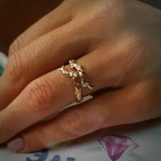 Эксклюзивное кольцо Веточка из красного золота