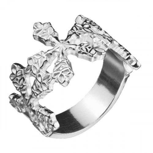 Кольцо 'Снежинки' из белого золота