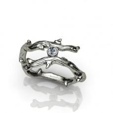 Кольцо веточка из белого золота с бриллиантом..