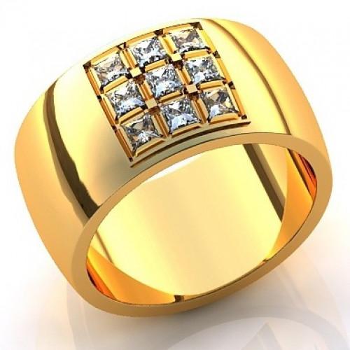 Кольцо из желтого золота с алмазами
