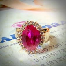 Кольцо из красного золота с турмалином и бриллиантами