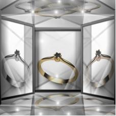 Классическое помолвочное золотое кольцо с черным бриллиантом