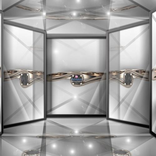 Классическое помолвочное золотое кольцо с крупным чёрным бриллиантом