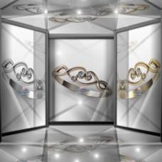 Классическое узорчатое золотое кольцо с бриллиантами