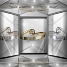 Классическое золотое помолвочное кольцо с крупным бриллиантом