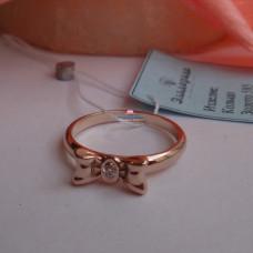 """Кольцо """"Бантик"""" из красного золота с бриллиантом"""