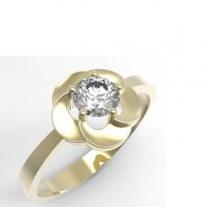 Кольцо 'Цветок' из желтого золота с бриллиантом