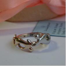 """Кольцо """"два борца"""" из розового золота и платины"""