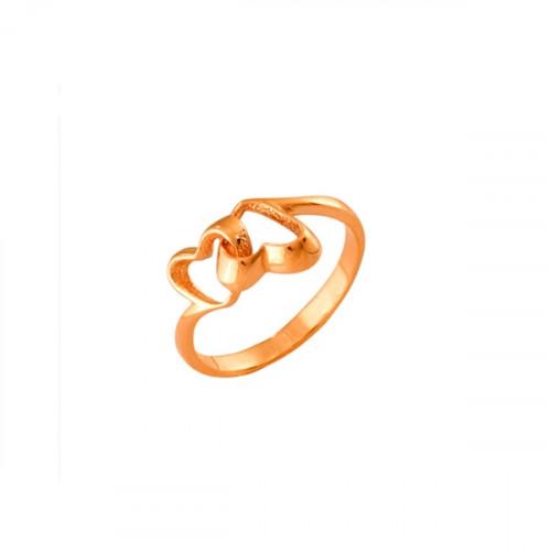 Кольцо 'Два сердца' из красного золота