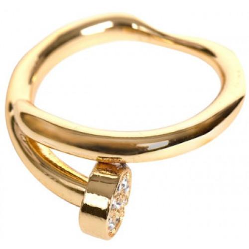 Кольцо 'Гвоздь' из желтого золота с бриллиантами
