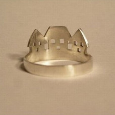 Кольцо из белого золота 'Домики'..