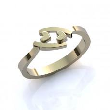 Кольцо из белого золота 'Два сердца'
