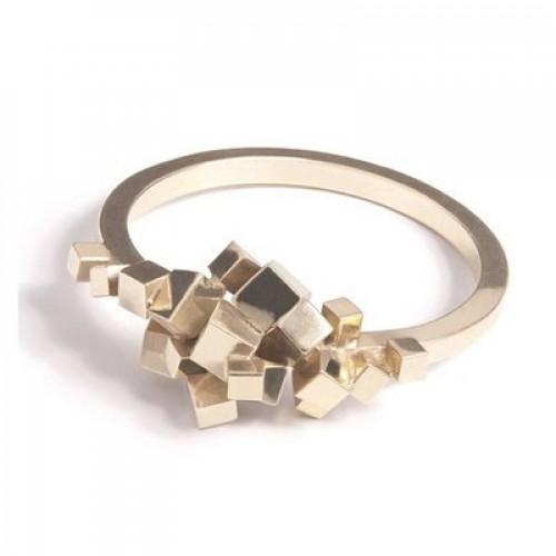 Кольцо из белого золота 'Кубики'