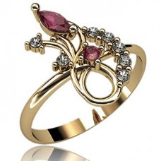Кольцо из белого золота с бриллиантами и рубинами