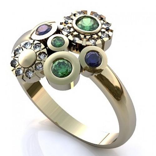 Кольцо из белого золота с бриллиантами, сапфирами и изумрудами