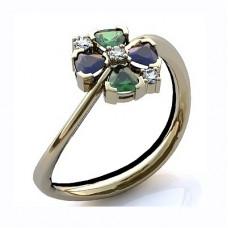 Кольцо из белого золота с бриллиантами, сапфирами и изумрудами..