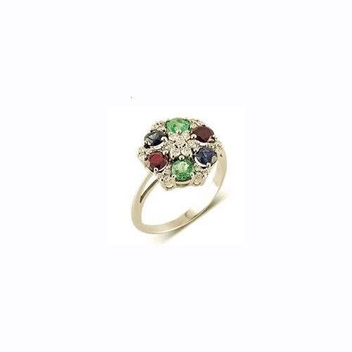 Кольцо из белого золота с бриллиантами, сапфирами, изумрудами и рубинами
