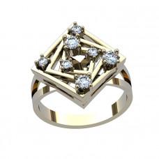 Кольцо из белого золота с бриллиантами в форме ромба