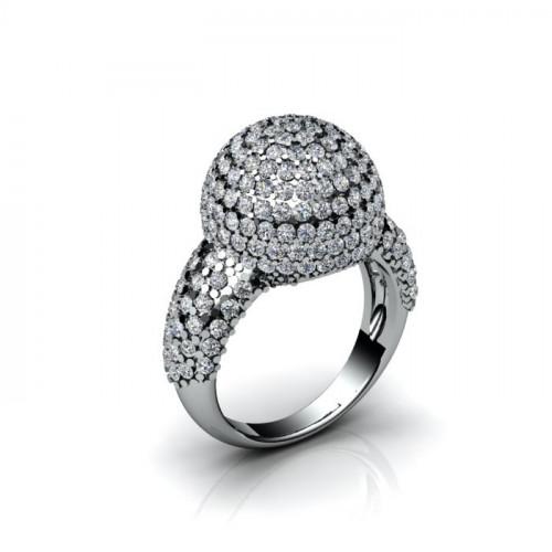 Кольцо из белого золота с бриллиантами в форме шара