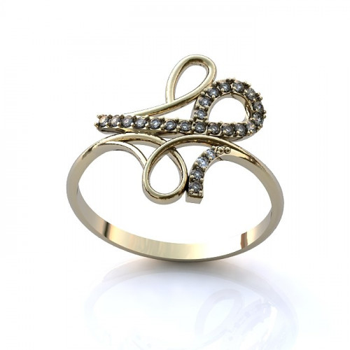 Кольцо из белого золота с бриллиантами в форме узора