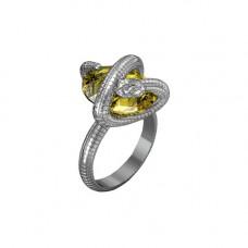 Кольцо из белого золота с цитрином
