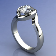 Кольцо из белого золота с одним бриллиантом..
