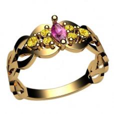 Кольцо из белого золота с рубинами и сапфирами