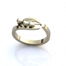 Кольцо из белого золота 'Сердечки'