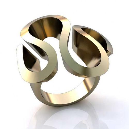 Кольцо из белого золота 'Змейка'