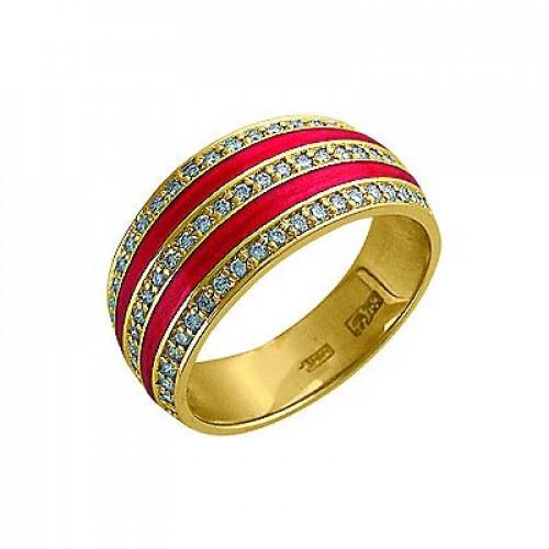 Кольцо из желтого золота с бриллиантами и эмалью