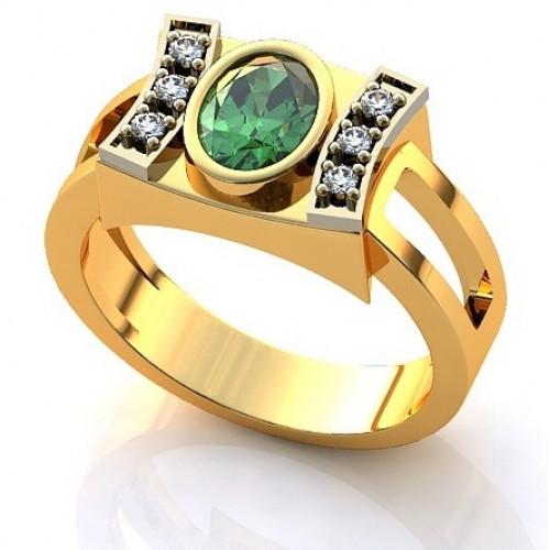 Кольцо из желтого золота с бриллиантами и изумрудом