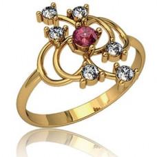 Кольцо из желтого золота с бриллиантами и рубином