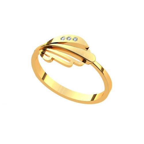 Кольцо из желтого золота с бриллиантами в форме листика