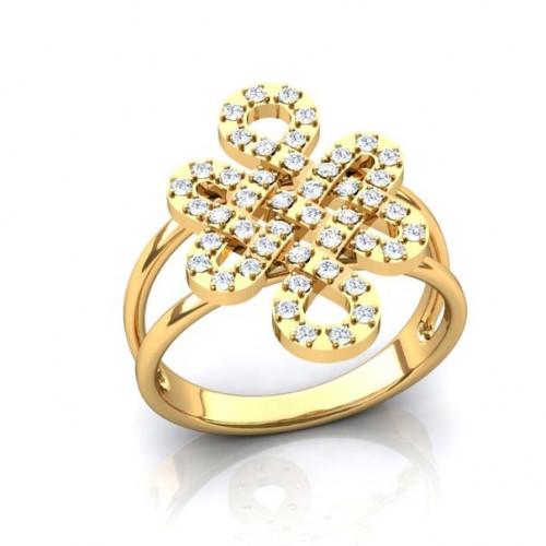 Кольцо из желтого золота с бриллиантами в виде узора