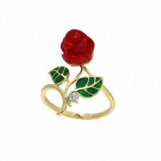 Кольцо из желтого золота с бриллиантом и эмалью..