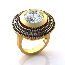 Кольцо из желтого золота с бриллиантом и сапфирами