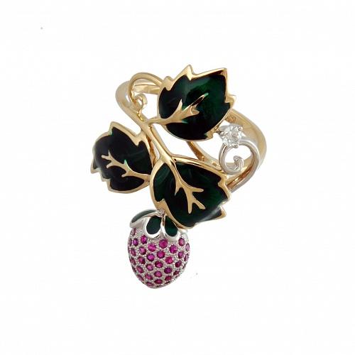 Кольцо из желтого золота с бриллиантом, рубинами и эмалью