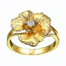 Кольцо из желтого золота с бриллиантом..