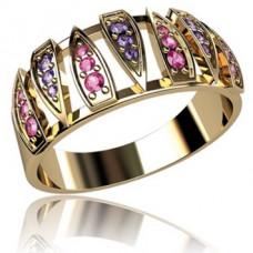 Кольцо из желтого золота с лиловыми и красными сапфирами