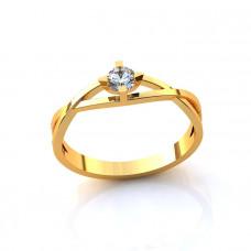 Кольцо из желтого золота с одним бриллиантом..