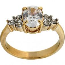 Кольцо из желтого золота с овальным бриллиантом