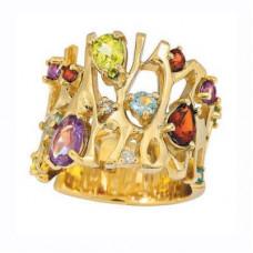 Кольцо из желтого золота с самоцветами