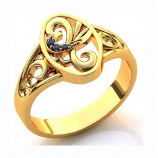 Кольцо из желтого золота с сапфирами..