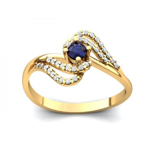 Кольцо из желтого золота с сапфиром и бриллиантами