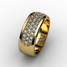 Кольцо из желтого золота с тремя дорожками бриллиантами