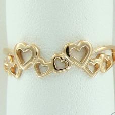 Кольцо из желтого золота 'Сердечки'..